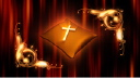 Royalty Free HD Video Clip of a Cross on a Turning Pillow With a Scroll Border