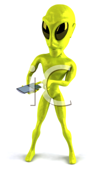 Royalty Free Clipart Image of an Alien With a Cellphone