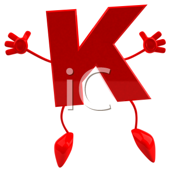 Royalty Free 3d Clipart Image of the Letter K Jumping