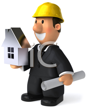 Royalty Free Clipart Image of an Architect Holding a House