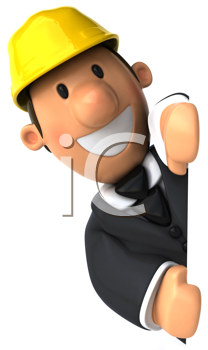 Royalty Free Clipart Image of a Man Smiling from Behind a Wall and Wearing a Hard Hat