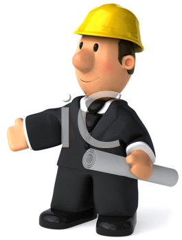 Royalty Free Clipart Image of a Man in a Yellow Hard Hat With Rolled Plans in His Hand