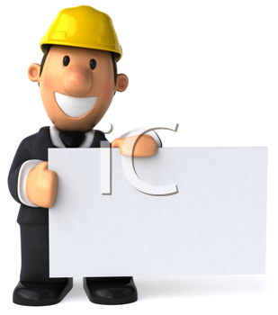 Royalty Free Clipart Image of a Man in a Hard Hat With a Sign