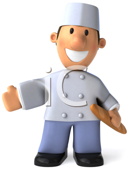 Royalty Free Clipart Image of a Baker With a French Stick