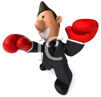Royalty Free Clipart Image of a Man Wearing Boxing Gloves