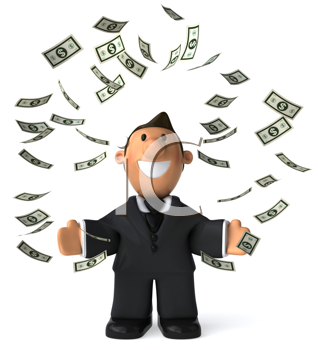 Royalty Free Clipart Image of a Man Throwing Dollar Bills