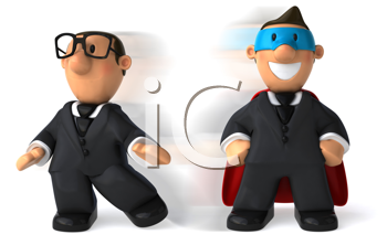 Royalty Free Clipart Image of Clark Kent and Superman Businessman