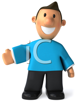 Royalty Free Clipart Image of a Man Holding Out His Right Hand
