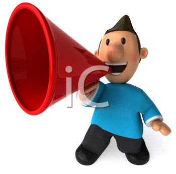 Royalty Free Clipart Image of a Man With a Megaphone