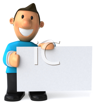 Royalty Free Clipart Image of a Man Holding a Sign