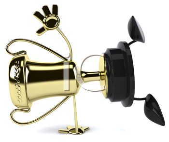 Royalty Free Clipart Image of a Trophy Doing a Hand Flip