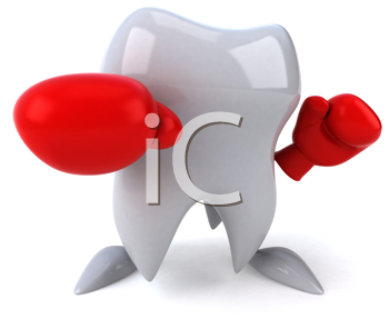 Royalty Free Clipart Image of a Tooth With Boxing Gloves
