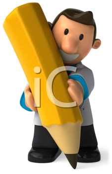 Royalty Free Clipart Image of a Guy Writing With a Big Pencil