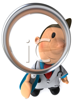 Royalty Free Clipart Image of a Doctor With a Magnifying Glass
