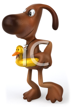 Royalty Free Clipart Image of a Dog With a Floatie