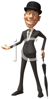 Royalty Free Clipart Image of a Dapper Guy With a Parasol