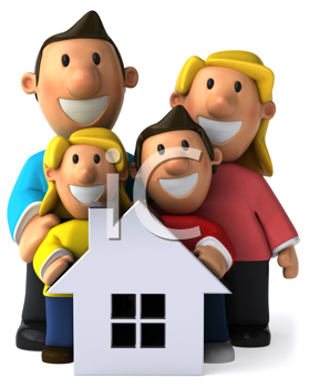 Royalty Free Clipart Image of a Family Behind a Small White House