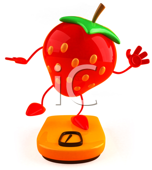 Royalty Free Clipart Image of a Strawberry Standing on One Leg on a Bathroom Scale