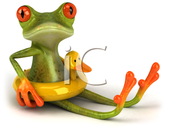Royalty Free Clipart Image of a Frog in a Rubber Tube