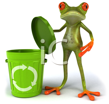 Royalty Free Clipart Image of a Frog With a Recycling Can