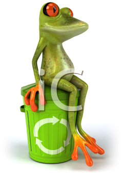 Royalty Free Clipart Image of a Frog Sitting on a Recycling Bin