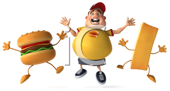 Royalty Free Clipart Image of an Overweight Man Celebrating With a Cheeseburger and a French Fry
