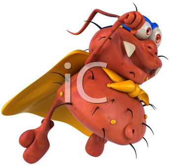 Royalty Free Clipart Image of a Superhero Germ