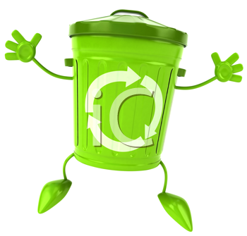 Royalty Free Clipart Image of a Jumping Green Garbage Bin