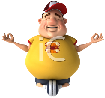 Royalty Free Clipart Image of an Overweight Man Meditating on a Cycle