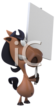 Royalty Free Clipart Image of a Horse With a Sign
