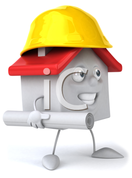 Royalty Free Clipart Image of a House With a Hard Hat and Rolled Paper