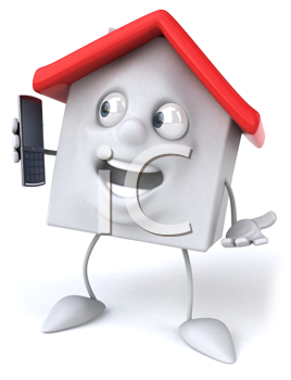 Royalty Free Clipart Image of a House With a Cell Phone