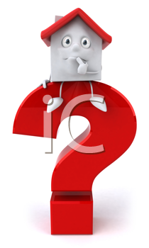 Royalty Free Clipart Image of a House on a Question Mark