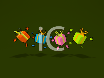 Royalty Free Clipart Image of a Group of Happy Presents