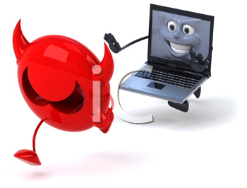 Royalty Free Clipart Image of a Laptop Chasing a Virus
