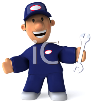 Royalty Free Clipart Image of a Smiling Mechanic With a Wrench