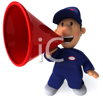 Royalty Free Clipart Image of a Mechanic With a Megaphone