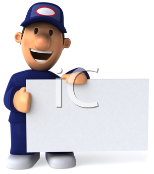 Royalty Free Clipart Image of a Mechanic Holding a Sign