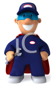 Royalty Free Clipart Image of a Superhero Mechanic