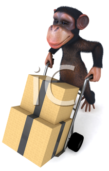 Royalty Free Clipart Image of a Monkey Moving Cardboard Boxes