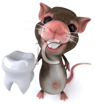 Royalty Free Clipart Image of a Mouse With a Tooth