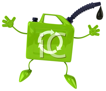Royalty Free Clipart Image of a Jumping Oil Can