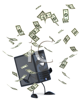 Royalty Free Clipart Image of a Modem And Money