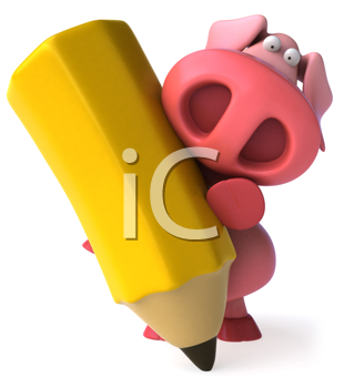 Royalty Free Clipart Image of a Pig With Crayon