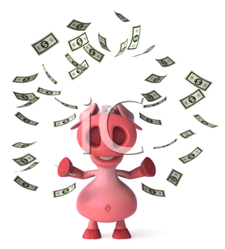 Royalty Free Clipart Image of a Pig Throwing Money