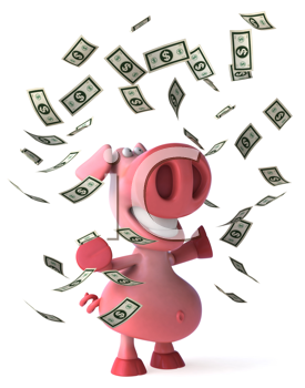 Royalty Free Clipart Image of a Pig Throwing Dollar Bills