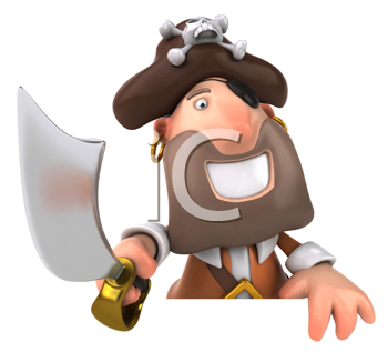 Royalty Free Clipart Image of a Smiling Pirate With a Sabre