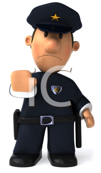 Royalty Free Clipart Image of a Policeman Making a Stop