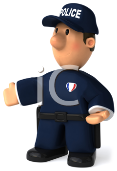 Royalty Free Clipart Image of a Police Officer With Open Arms