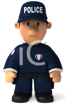 Royalty Free Clipart Image of a Police Officer Looking Sad